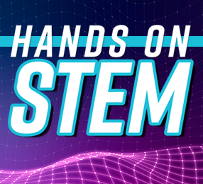 """The words """"Hands On STEM"""" against a futuristic purple grid background design"""